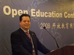 Foto van Willem op de Open Education Conference 2008